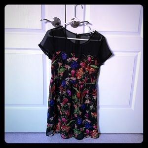 Chiffon short sleeved floral dress